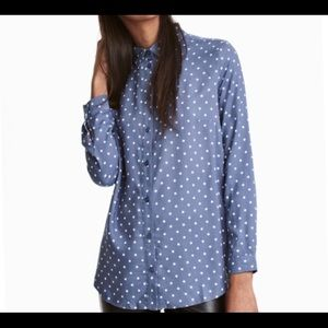 H&M viscose blue and white polka dot button up